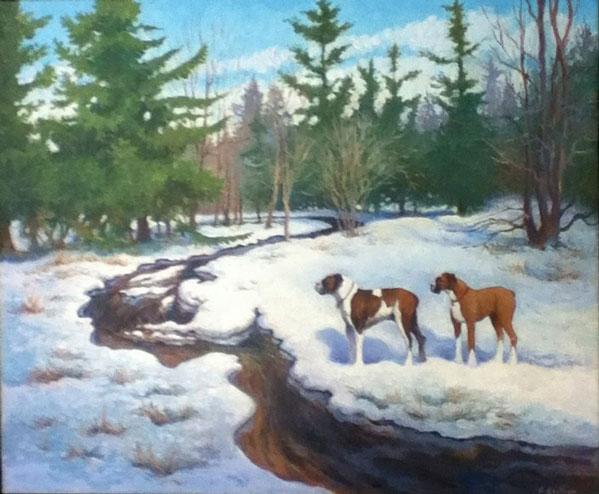 Mux and Miia by the Creek, 20 X 24 (Oil) - Sold
