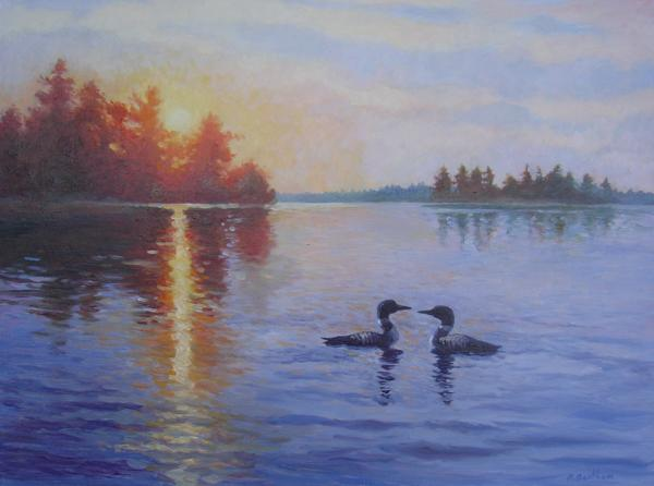 Loons, Sunrise Honey Harbour, 18 X 24 (Oil) - Sold